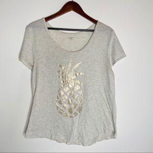 Ann Taylor Loft Pineapple Heathered Gray T-shirt